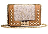 Brown Women Shoulder Bags Handbags Purses Lace Mini Crossbody Bag With Metal Chain Strap
