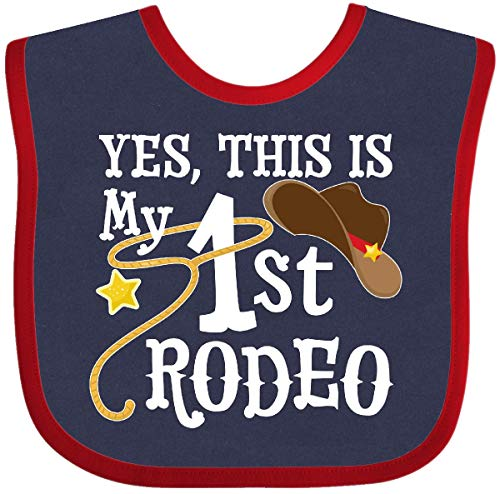 Inktastic - Yes, This is My 1st Rodeo- Cowboy hat Baby Bib Navy and Red 35612
