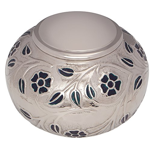 Silver Vines Funeral Urn by Liliane Memorials - Cremation Urn for Human Ashes - Hand Made in Brass - Suitable for Cemetery Burial or Niche - Large Size fits remains of Adults up to 180 lbs by Liliane Memorials (Image #2)