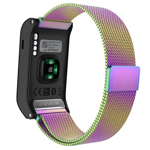 Garmin Vivoactive HR Watch Band, MoKo Milanese Loop Stainless Steel Mesh Replacement Bracelet Strap for Vivoactive HR Sports GPS Smart Watch with Unique Magnet Lock, No Buckle Needed, Colorful