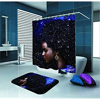 Amazon Com Sara Nell Black Girl Shower Curtain African