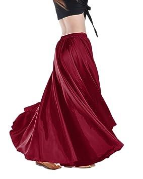 Guiran Falda Larga Color Sólido Satén Profesional Danza del ...