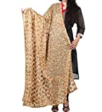 beautiful embroidered golden phulkari dupatta - star designed phulkari work from punjab - in chifon fabric phulkari dupatta