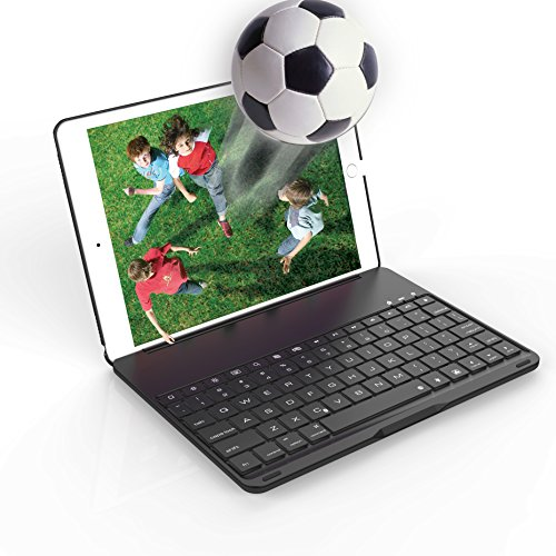 iPad Case with Keyboard,Valoin Universal iPad Pro 9.7 iPad Air 2 Folio Case Wireless Bluetooth Keyboard with Backlit (For iPad Pro 9.7【A1673/A1674/A1675】& iPad Air 2【A1566/A1567】) (Black-A)
