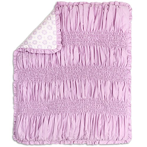 Lilac Kisses Purple Smocked Baby Girl Crib Quilt by The Peanut Shell Lilac Kisses