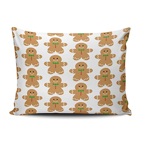 - KAQIU Home Decoration Pillow Case Brown Red Green Gingerbread Man Large Pattern Custom Throw Pillowcase Cushion Cover Standard Size 20X26 Inch Chic Personality Rectangular One Sided Printed Design