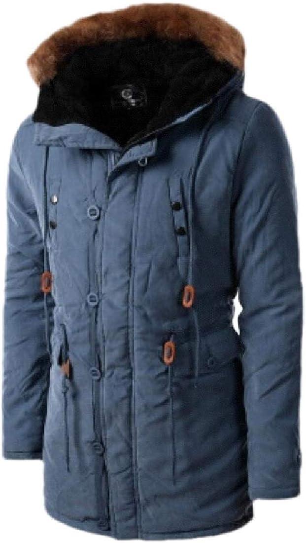 Wofupowga Men Cotton-Padded Slim Fit Coat Quilted Basic Jacket Hooded Vest