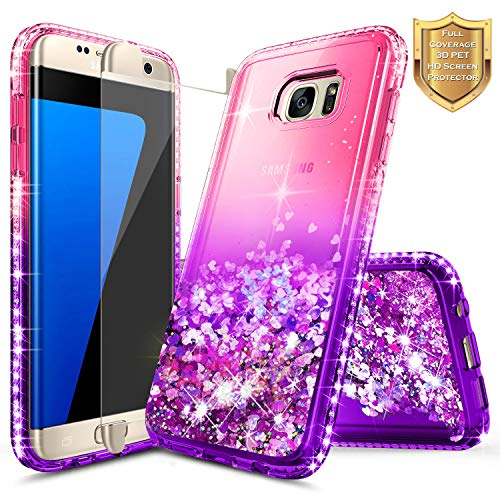 Galaxy S7 Edge Case w/[Full Cover Screen Protector Premium Clear] for Girls Women, NageBee Glitter Liquid Quicksand Flowing Shiny Sparkle Diamond Cute Case for Samsung Galaxy S7 Edge -Pink/Purple