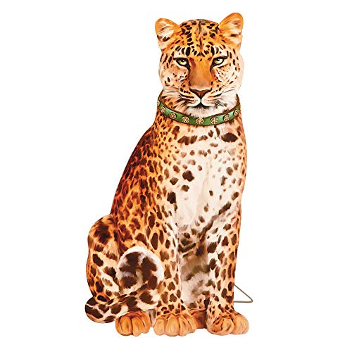 Collections Etc Sitting Clever Leopard Fireplace Decoration - Fun Lifelike Jungle Animals Home Decor (Fancy Fireplace Iron)