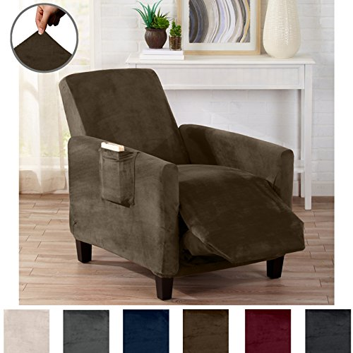 Great Bay Home Modern Velvet Plush Strapless Slipcover. Form Fit Stretch, Stylish Furniture Cover/Protector. Gale Collection by Brand. (Recliner, Walnut Brown) (Walnut Chair Wide)