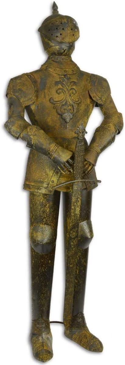 Casa Padrino Armadura Caballero de Hierro con Espada marrón Antigua/Plata H. 142 cm - Decoración Medieval