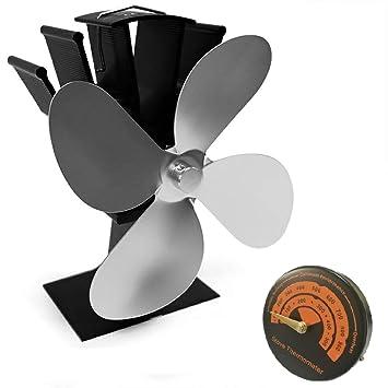 Admier Estufa Ventilador Chimenea termómetro Nuevo diseño 4 Cuchillas de Registro de energía térmica Quemador Estufa