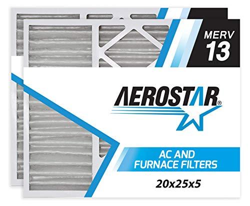 Aerostar 20x25x5 MERV 13 Air Bear Replacement Pleated Air Filter, Made in the USA 20 3/8″ x 24 1/4″ x 4 3/4″, 2-Pack