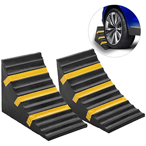 ScinoTec 2 Pack Solid Heavy Duty Rubber Wheel Chocks Blocks with Reflective Strips for Travel Trailer Truck Commercial…