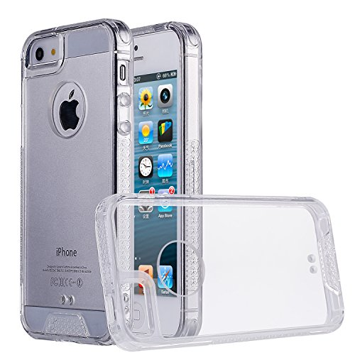 iPhone SE Case,iPhone 5S Case,iPhone 5 Case, Ultra Slim Shock-Absorption Hybrid Soft TPU Side and Clear Hard Acrylic Back Panel Anti-Scratch Case for Apple iPhone SE 5 5S (Crystal Clear)