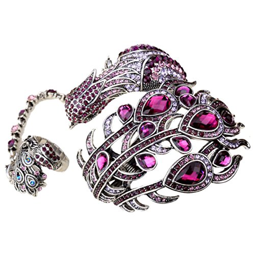 Hiddlston Crystal Jewelry Set Peacock Feather Custom Collection Bracelet Bangle Attached Ring Women ()
