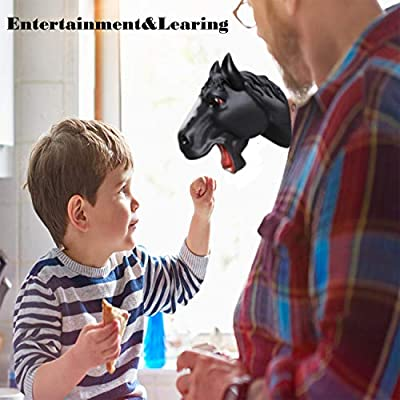 ifkoo Horse Hand Puppet Toys, Soft Rubber Animal Puppets Role Play Toy for Kids, Realistic Unicorn Head: Toys & Games