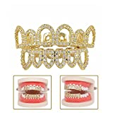 KingFurt 18K Gold Plated Shiny CZ Mouth Teeth Grills Hollow Open Fangs Hip Hop Grills Top Lower Set