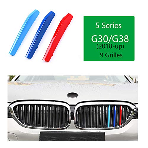 ///M-Colored Stripe Grille Insert Trims Front Grill Stripes Covers For 2018-up BMW G30 G31 G38 5 Series 520i 530i 530e 540i M550i 520d 525d 530d 540d (9 Beams) ()