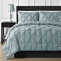 Comfy Bedding Double Needle Durable Stitching 3-piece Pinch Pleat Comforter Set All Season Pintuck Style (Queen, Spa Blue)