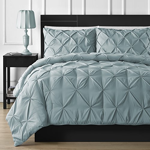 Double-Needle Durable Stitching Comfy Bedding 3-piece Pinch Pleat Comforter Set All Season Pintuck Style(King, Spa Blue)