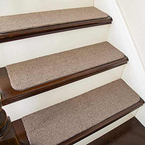 COSY HOMEER Stair Treads Non-Slip Carpet Mat 30inX8in Indoor Stair Runners for Wooden Steps, Stair Rugs for Kids and Dogs, 100% Polyester TPE Backing 15pcs,Green
