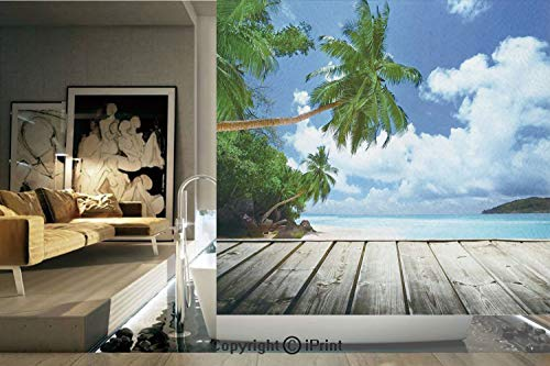 (Decorative Privacy Window Film/Tropical Island Beach from the Deck Pier by the Ocean with PalmTrees Exotic Print/No-Glue Self Static Cling for Home Bedroom Bathroom Kitchen Office Decor Green Navy Bro)