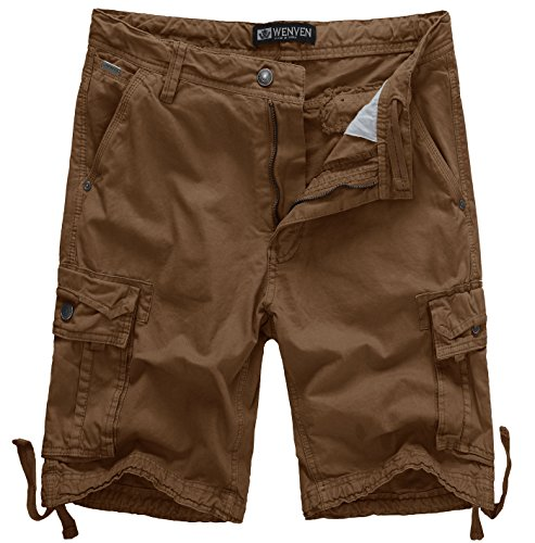 Low Cargo - WenVen Men's Active Cargo Shorts Cotton Outdoor Wear Lightweight (WV3229 Coffee,42)