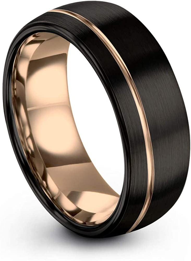 Midnight Rose Collection Tungsten Wedding Band Ring 8mm for Men Women 18k Rose Yellow Gold Plated Dome Off Set Line Black Brushed Polished