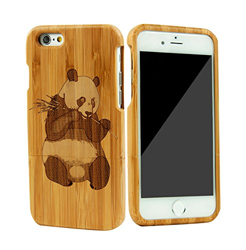 """SunSmart Unique Handmade Genuine Natural Wood Wooden Hard bamboo Case Cover for iPhone 6 4.7""""(panda)"""