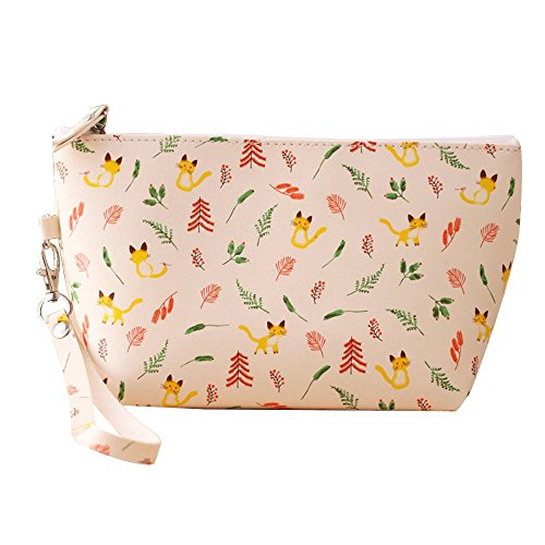 le Waterproof Elegance Cosmetic Pouch Toiletry Bag / Cute PU Leather Floral Printed Top Zipped Makeup Case for Travel, Anniversary, Party and Dating(Yellow Kits) (Leather Zipped Pouch)
