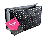 Periea Handbag Organizer, 12 Compartments - Chelsy (Black/White, Large)