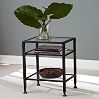 Black Metal End Table with Glass Top