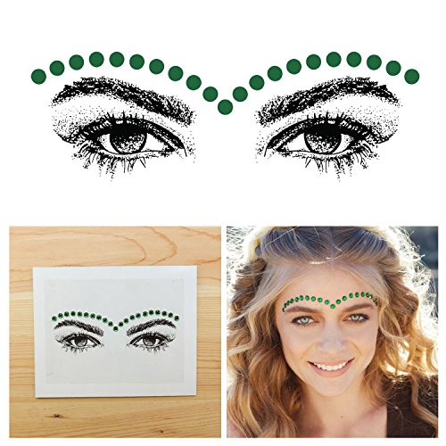 Tattify Bindi Festival Green Oval Colorful Temporary Face Rocks - Pop - Other Styles Available, Fashionable Temporary Rhinestone Gem Face Jewel Stickers - Long Lasting and Waterproof (Simple Halloween Face Paint For Guys)