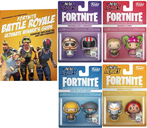 Agent Game Battle Figures Fortnight Raptor & Elite + Omega & Valor + 2 Pack Ranger & Zoey Action Royale Moonwalker and Burnout Pint Size Collection + Ultimate Book Winners (Heart 2 Figure Collection)