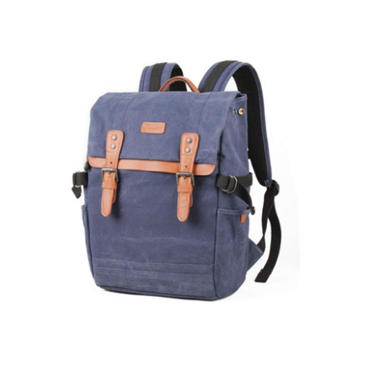 カメラバッグ、ファッションの のカメラバックパックバッグ、大容量の男性と女性の肩キャンバスバッグ、ミリタリーグリーン (Color : Blue) B07R4TWX9L