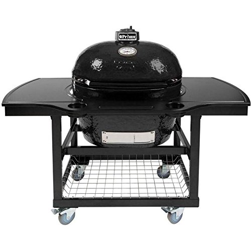 Primo Oval Xl Ceramic Kamado Grill On Steel Cart With 1-piece Island Side Shelves & Cup Holders by Primo