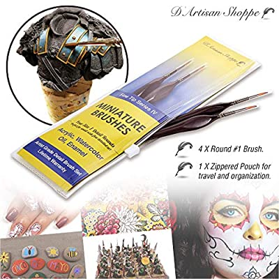 Fine Tip Detail Paint Brushes. Miniature Brushes for Detailing Art for Acrylic Watercolor Oil - Models, Airplane Kits, Craft, Rock Painting Artist Supplies. Size 1 Round Tiny Paintbrush: Toys & Games