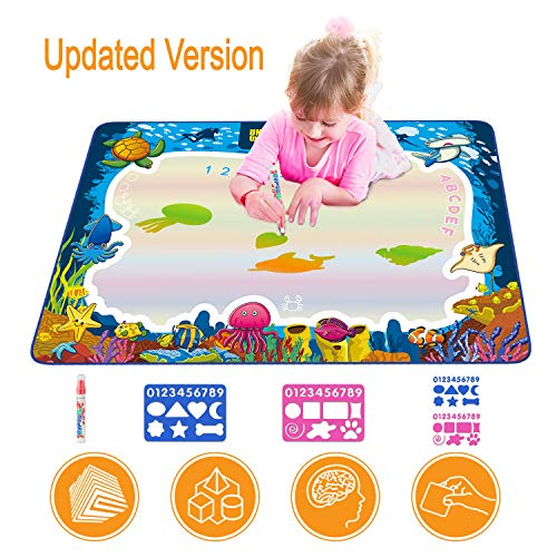 Aquadoodle Mat - Hierceson Aqua Drawing Mat for Kids, Doodle Pad Educational Gifts Developmental Toys Coloring Water Magic Mats Scribble Board Pad Painting Markers for Baby Toddler with Pens