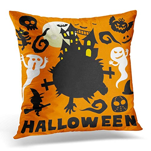 Wbsdfken Throw Pillow Covers Black Ghost Happy Halloween Cute Cartoon Comic Colorful Autumn Decorative Pillows Square Size 16 x 16 Inches Home Decor -