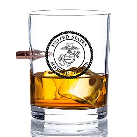 Officially Licensed USMC Bullet Whiskey Glass – Hand Blown .308 Glasses – Marine Corps Gifts – 8 Oz.