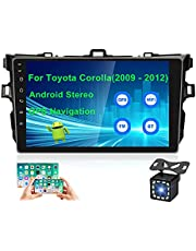 UNITOPSCI Android Car Stereo for Toyota Corolla 2009-2012 GPS Navigation Double Din Car Radio 9'' HD Touch Screen GPS Navigation WiFi Bluetooth FM Radio 1G 16G USB Mirror Link + 12 LEDs Backup Camera