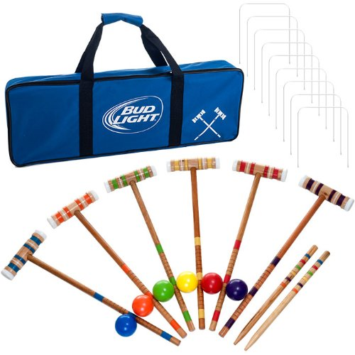 Bud Light Officially Licensed Croquet Set with Deluxe Carrying Case - Up to 6 Players! by TMG