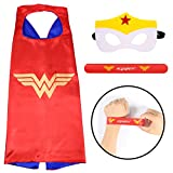 Ecparty Superhero Cape and Mask and Bracelets Costumes Set for Kids (Wonder Woman)