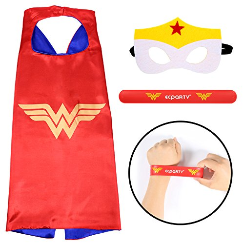 [Ecparty Superhero Cape and Mask and Bracelets Costumes Set for Kids (Wonder Woman)] (Diy Family Costumes)