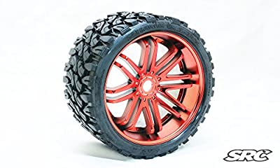 SRC Terrain Crusher (Belted) 17mm hex Chrome Red (Pair)