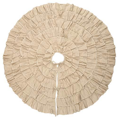 MrXLWhome Christmas Tree Skirt White Ruffled 50 inch Round, Holiday Tree Decorations, Burlap Tree Skirts White Ruffle ()