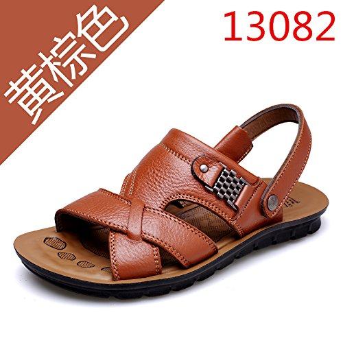 Xing Lin Sandalias De Hombre Verano Sandalias De Hombres Transpirable Zapatillas Antideslizante De Los Hombres De Mediana Edad Zapatos De Fondo Blando Suelo Papá Zapatos, 46,13082 Amarillo Marrón