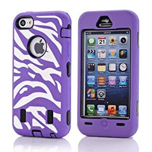 Otterca 3 in 1 Zebra Hybrid Slim Fit Hard Case Cover For iPhone 5C Purple