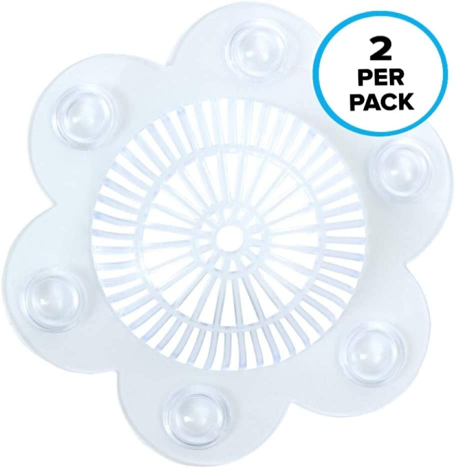 "SlipX Solutions Stop-A-Clog Drain Protectors Trap Hair! 2 Hair Catchers Per Package. (Clear, Plastic, 5"" Diameter)"